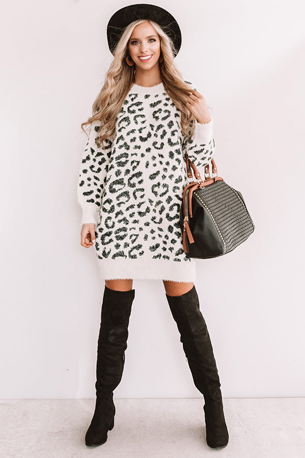 Toasty In Telluride Leopard Sweater Dress