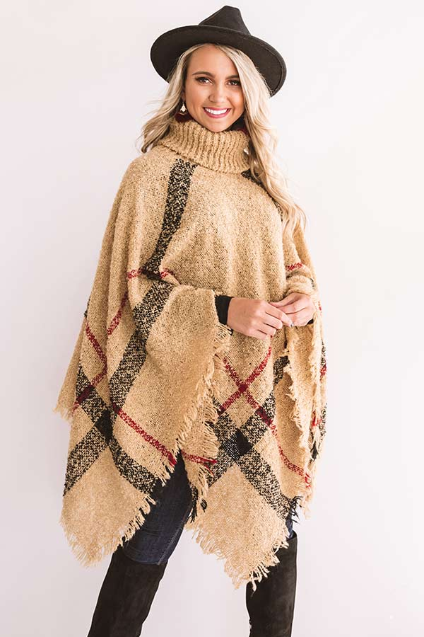 Bubbles And Bonfires Plaid Poncho