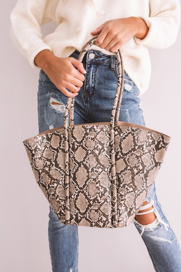 Times Square Kisses Snake Print Tote In Brown