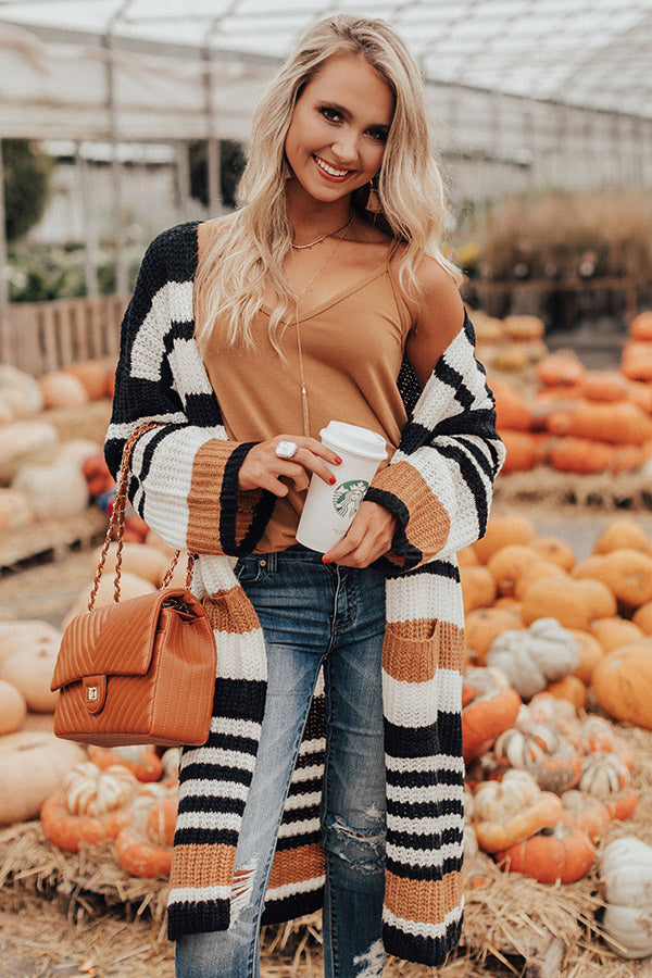 Stripes And Lattes Knit Cardigan