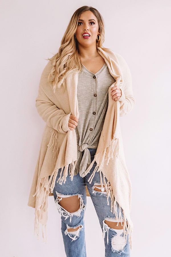 Feeling Sweet Fringe Cardigan In Champagne