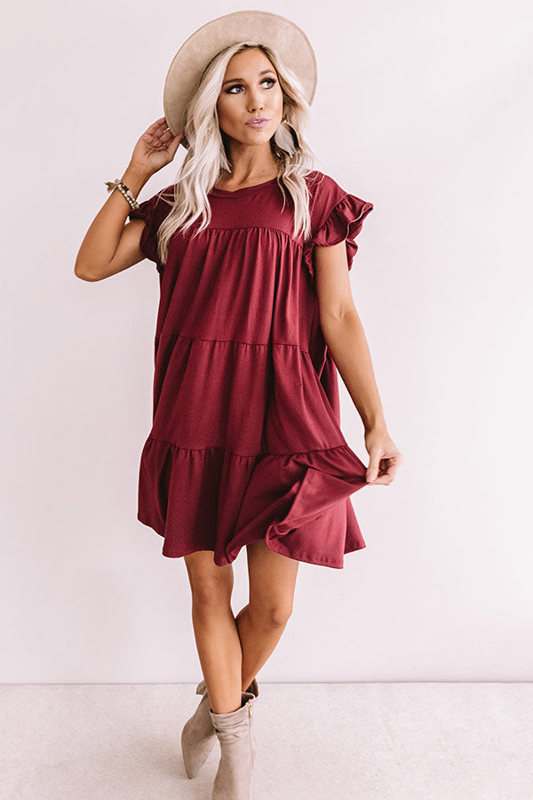 Ready To Party Babydoll Dress In Merlot
