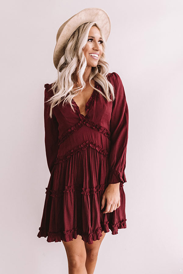 Sweet And Stunning Babydoll Dress In Merlot