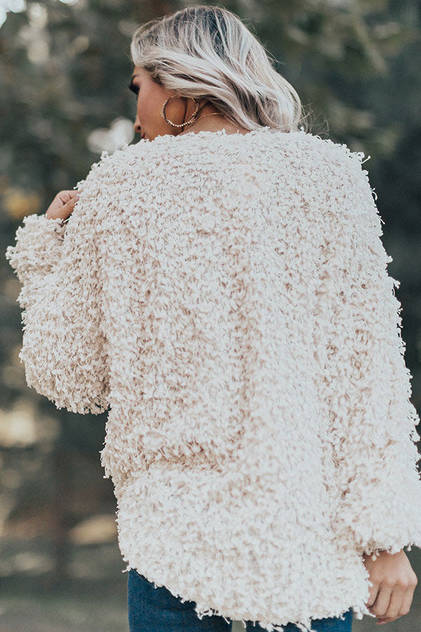 Chic Peek Popcorn Knit Light Weight Jacket In Ivory