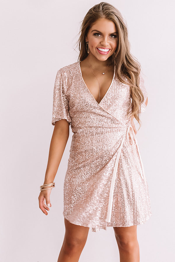 Grand Entrance Sequin Wrap Dress In Pink