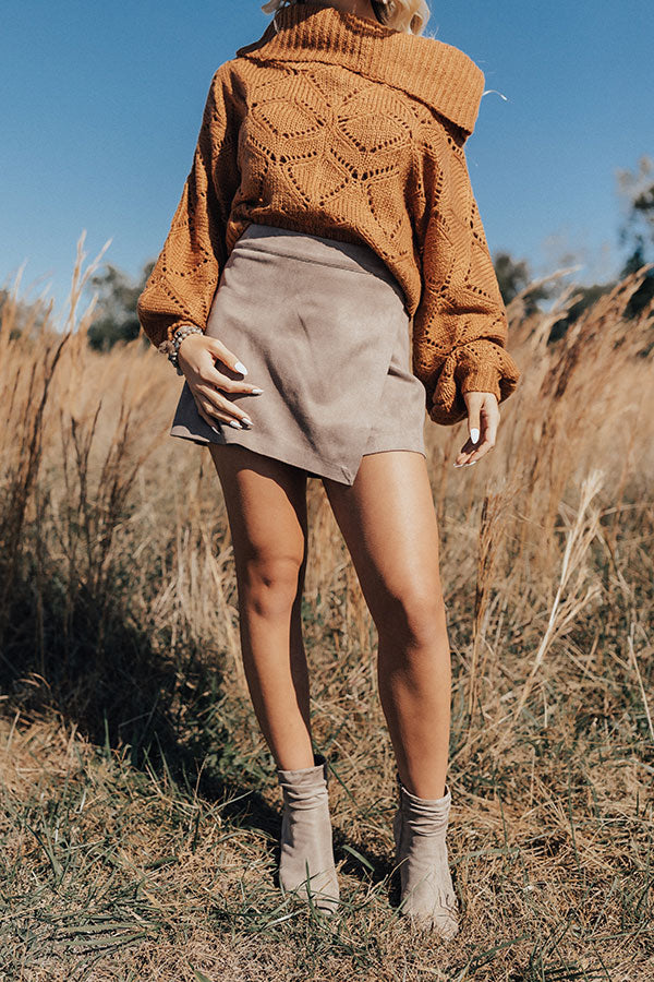 Positive Vibes Faux Suede Skort In Taupe