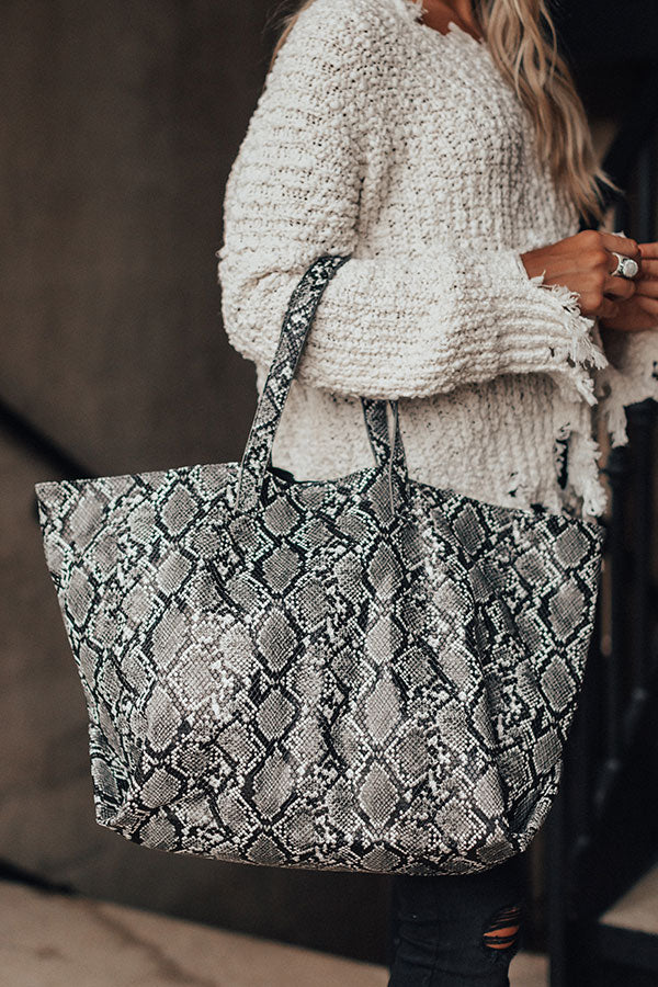 Neutral Territory Snake Print Tote In Black