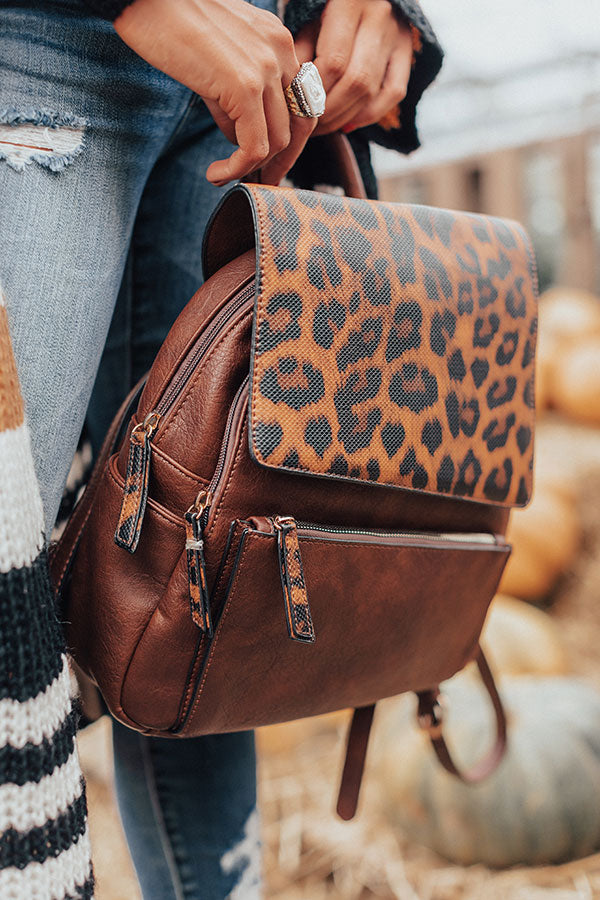 Upstate Adventures Faux Leather Leopard Backpack In Brown