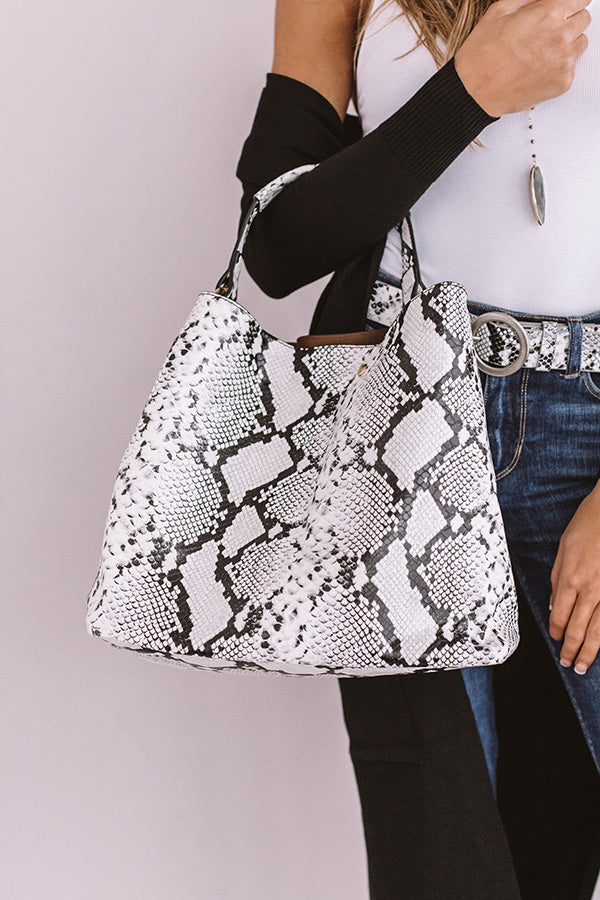 Nightlife Luxury Snake Print Tote In White
