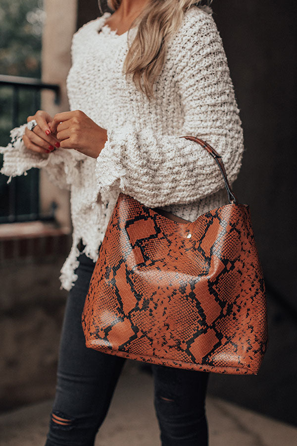 Nightlife Luxury Snake Print Tote In Cinnamon
