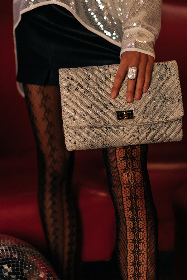 Delicate Details Faux Leather Snake Print Clutch In White