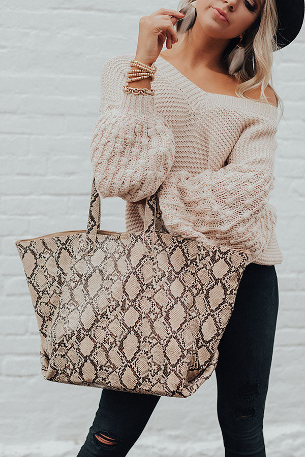 Neutral Territory Snake Print Tote In Brown