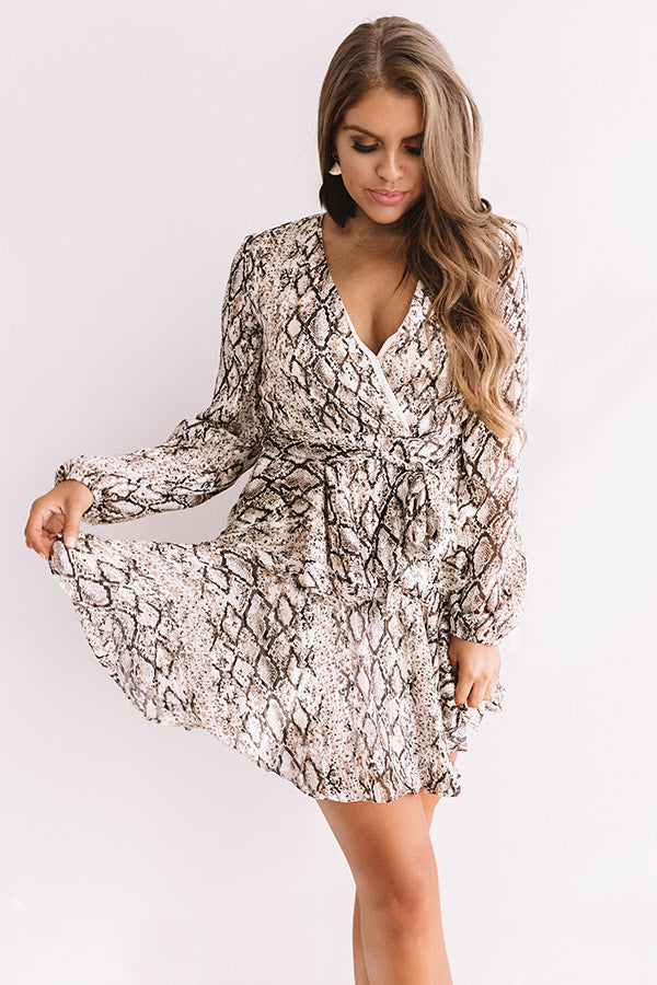 Hollywood Happenings Snake Print Dress In Brown