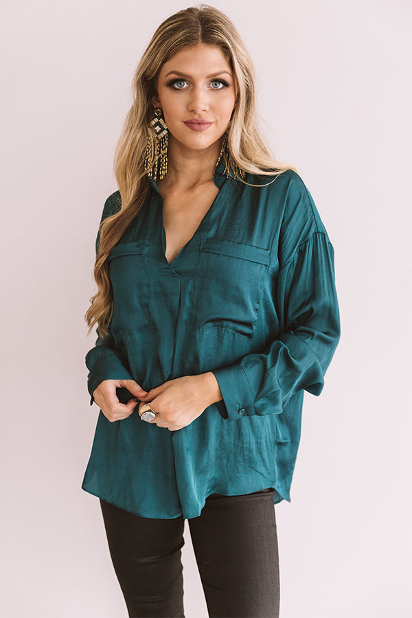 Pearls And Perfume Satin Shift Top in Lush Meadow