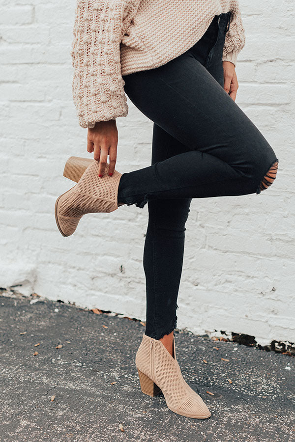 The Lyle Perforated Bootie In Iced Latte