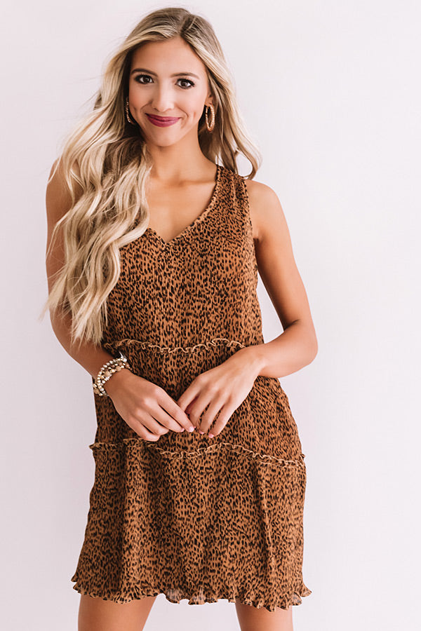 Sweet And Divine Pleated Leopard Dress