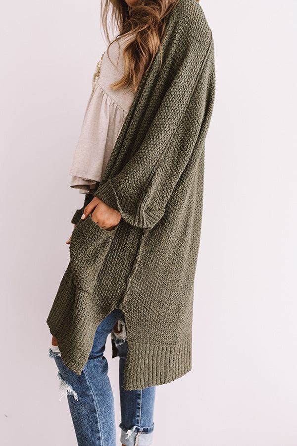 Weekend Out West Knit Cardigan In Olive