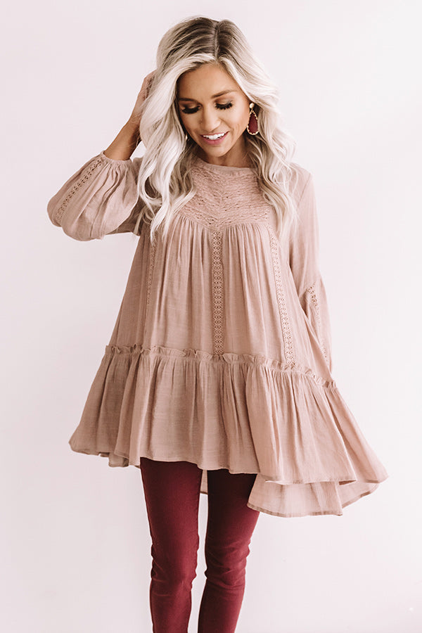 Chai And Kisses Shift Top in Mocha