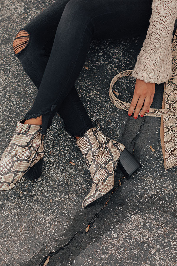 The Madeline Snake Print Bootie