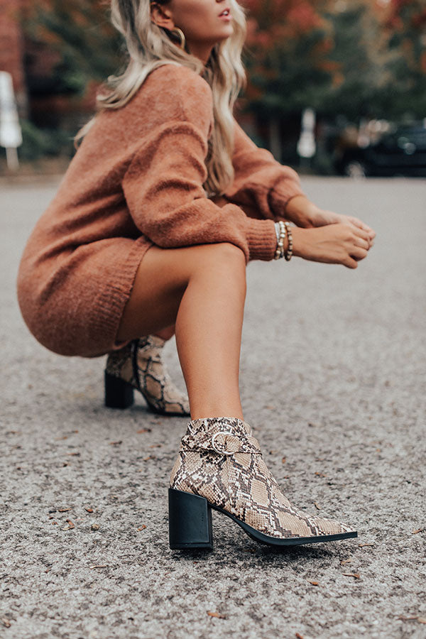 The Annelise Snake Print Bootie