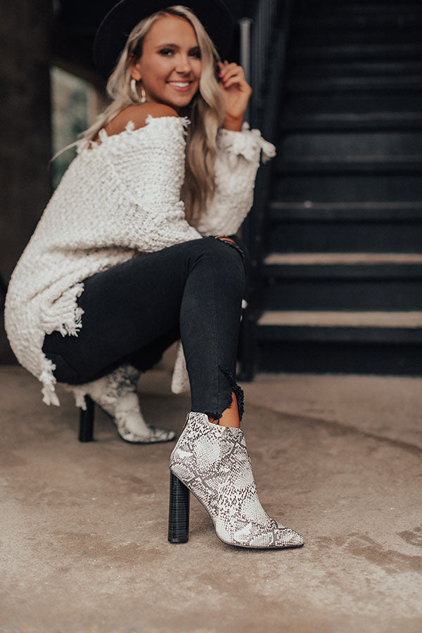 The Kendra Ankle Bootie In Snake Print