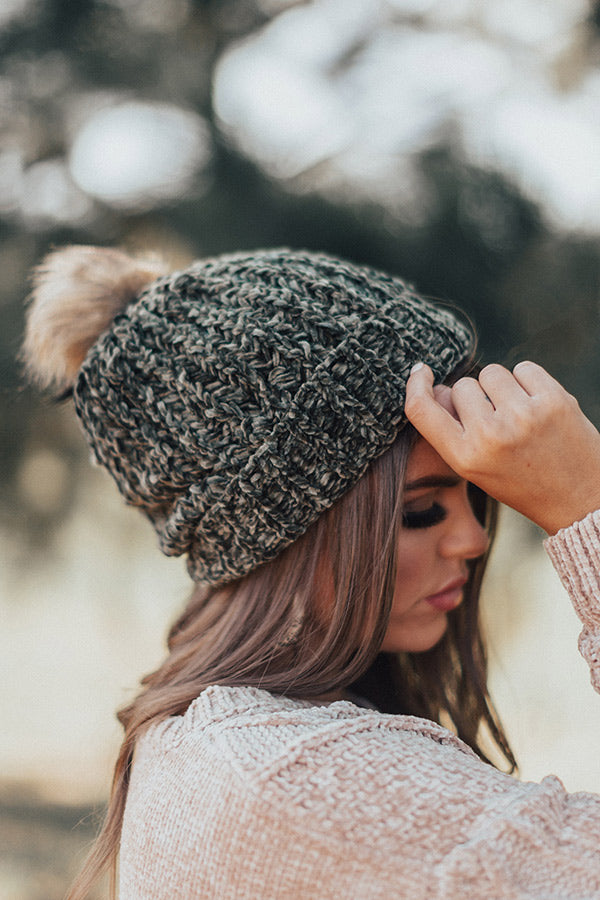 Pure Sweetness Fleece Lined Chenille Beanie In Olive