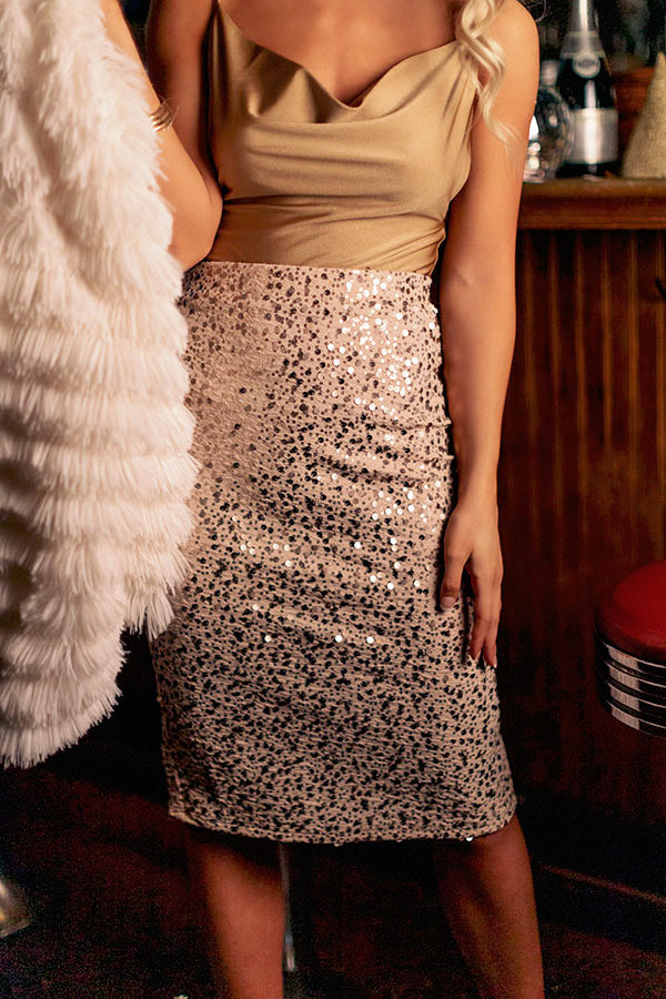 Dramatic Effect Sequin Pencil Skirt in Champagne