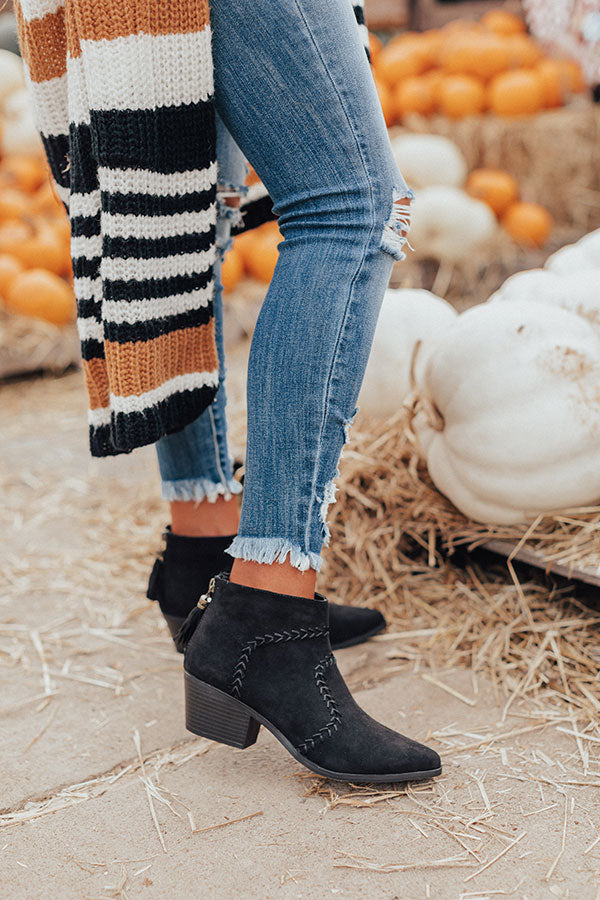 The Brenna Faux Suede Bootie In Black