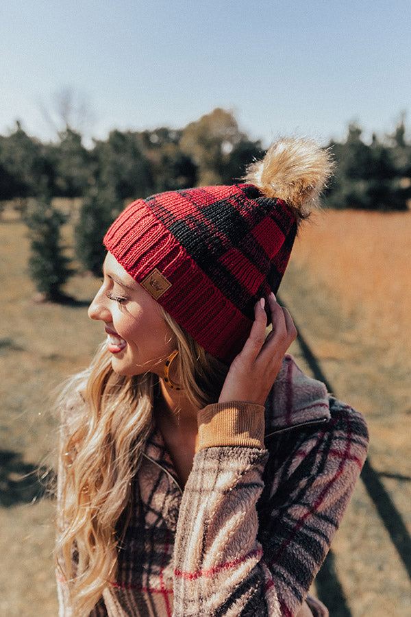 Kisses And Cabins Fleece Lined Checkered Beanie In Crimson