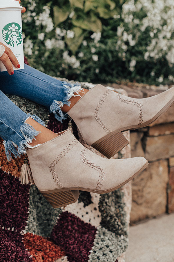 The Brenna Faux Suede Bootie In Stone