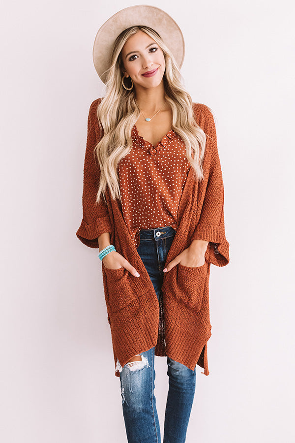 Weekend Out West Knit Cardigan In Rust