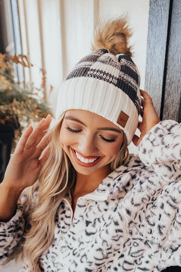 Kisses And Cabins Fleece Lined Checkered Beanie In Ivory