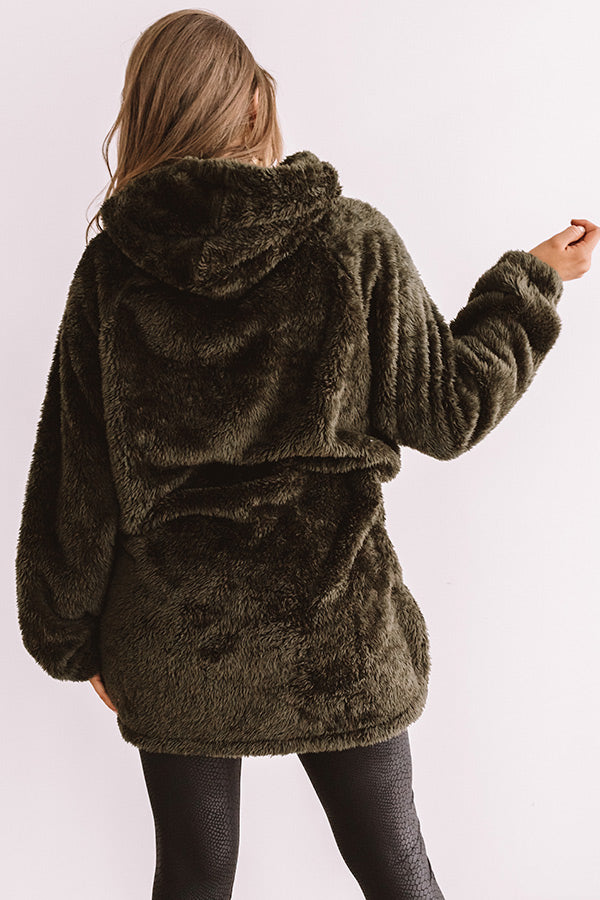 Simply Burr-fection Teddy Hoodie in Olive