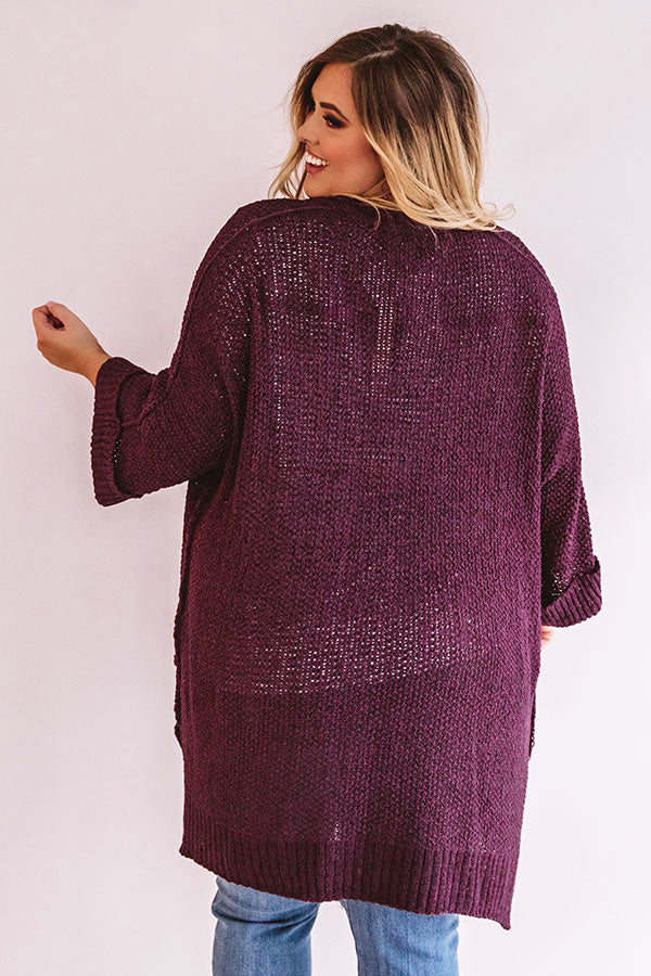 Weekend Out West Knit Cardigan In Purple