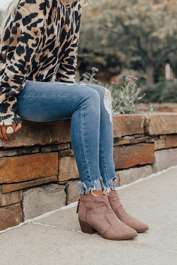 The Brenna Faux Suede Bootie In Mocha