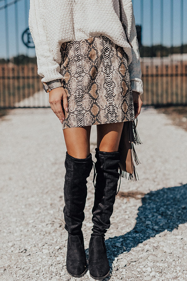 Pretty On Point Snake Print Skirt