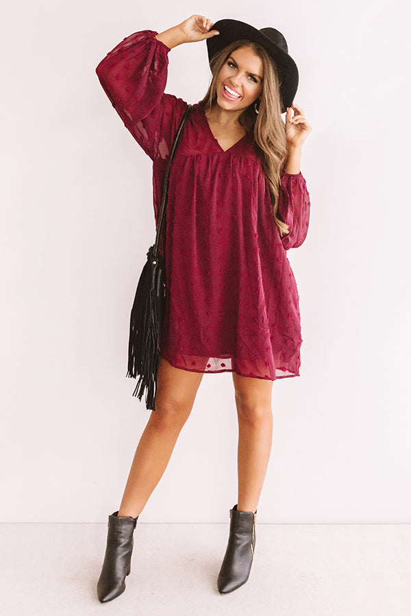 Spot On Babydoll Shift Dress in Wine