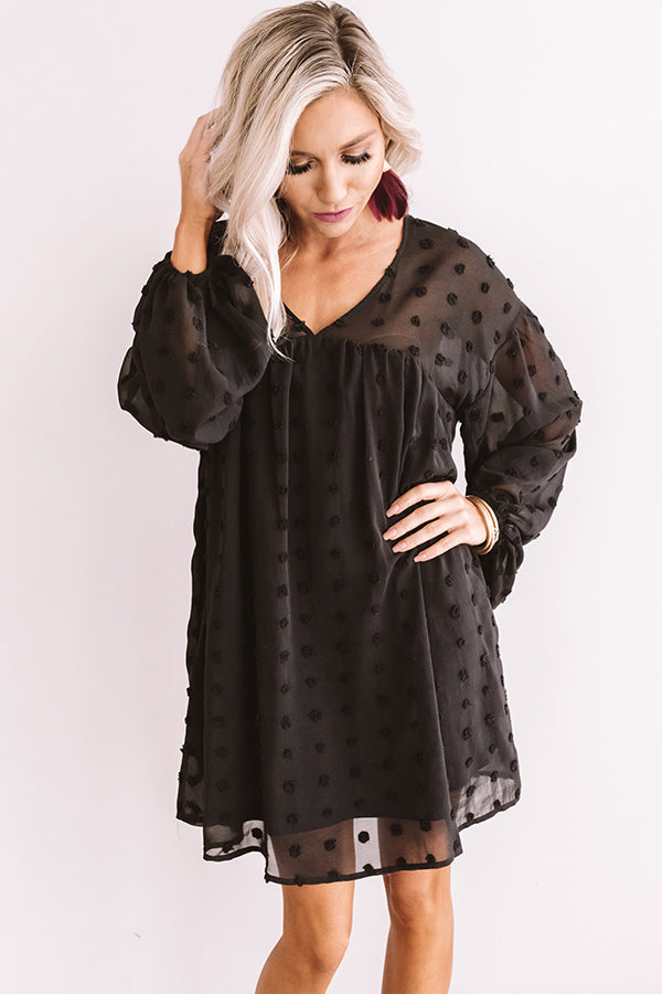 Spot On Babydoll Shift Dress in Black