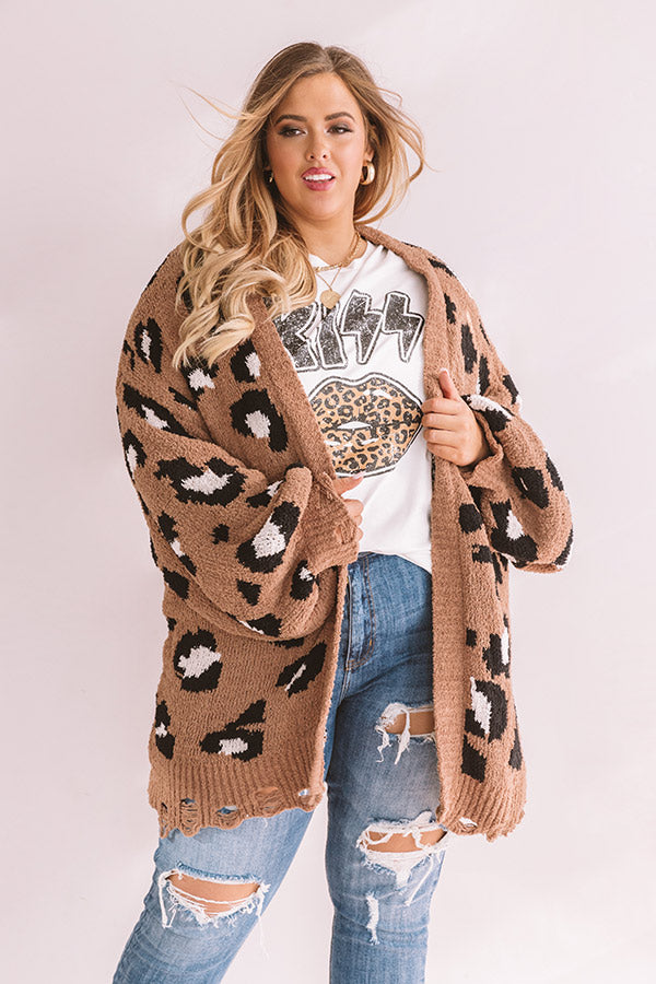 Snow In Central Park Knit Leopard Cardigan In Brown