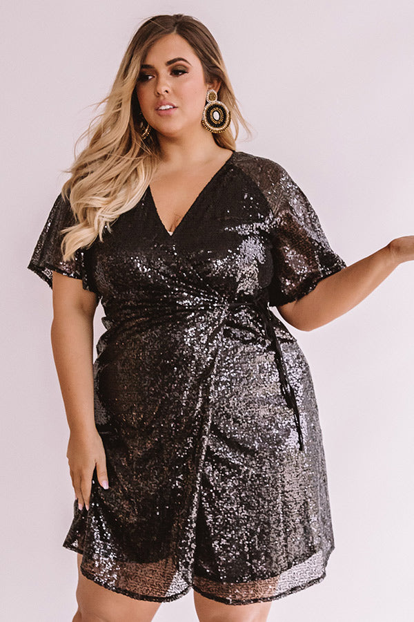 Nightlife Luxury Sequin Wrap Dress In Black