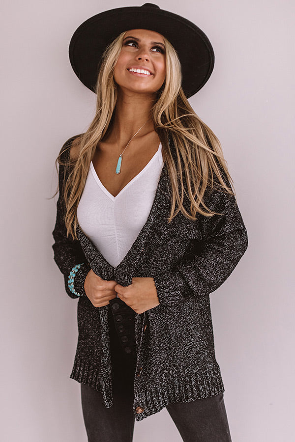 Sweet And Divine Knit Cardigan In Black