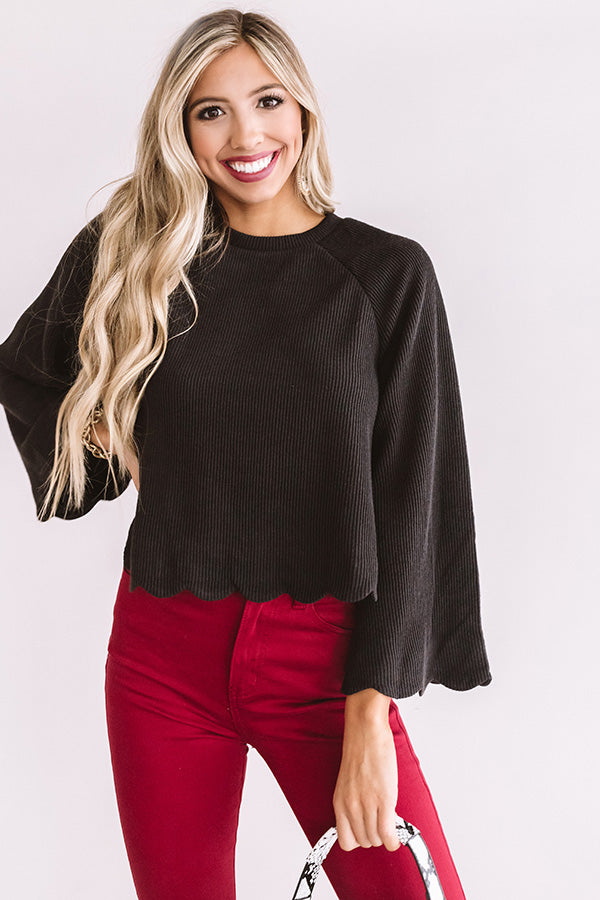 Twice As Nice Ribbed Shift Sweater In Black