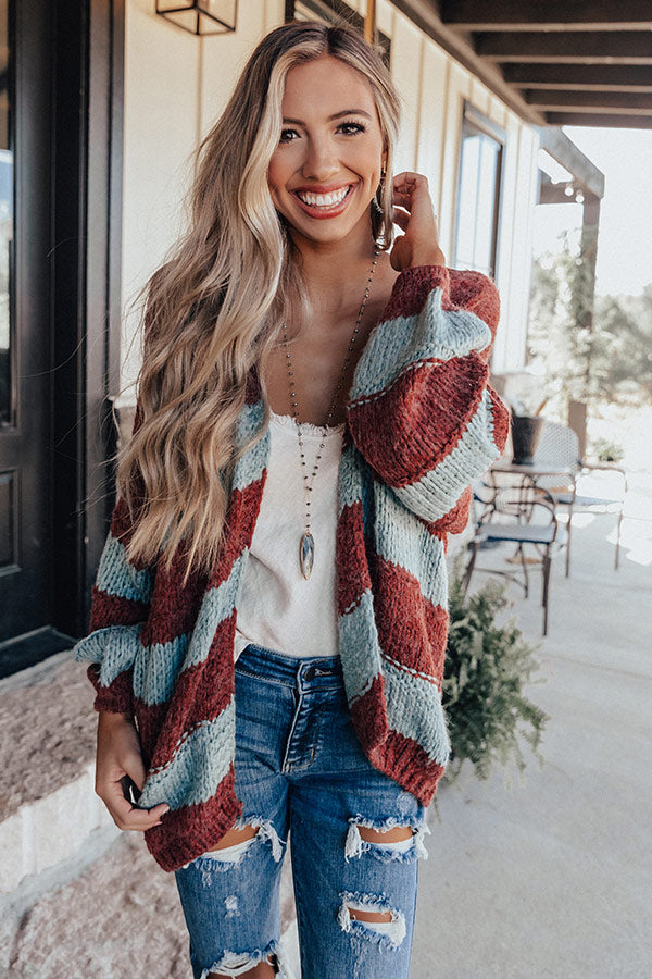 Stuck On You Knit Cardigan In Aurora Red