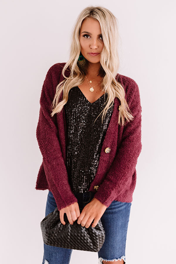 Warm Hearts Ultra Soft Cardigan In Windsor Wine