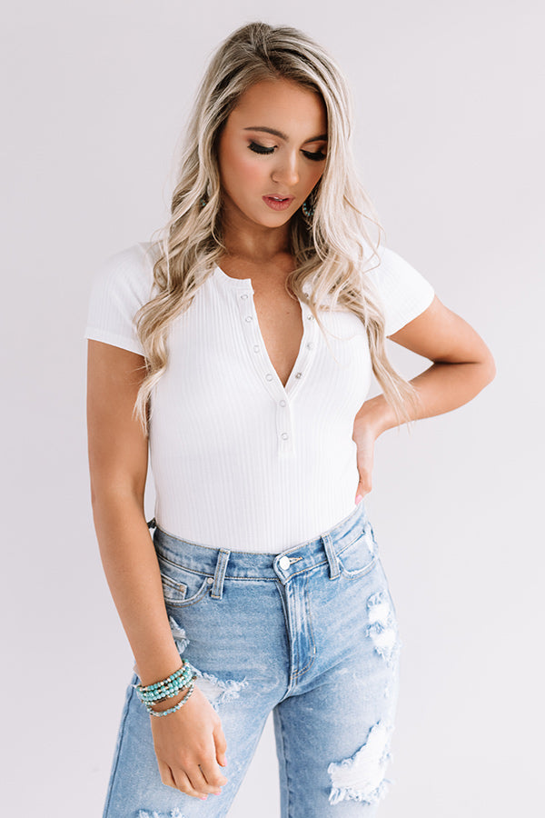 Cool Look Ribbed Bodysuit In White