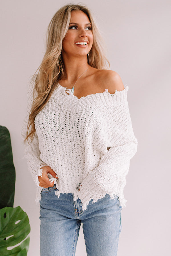 Latte Meet Up Distressed Sweater in White