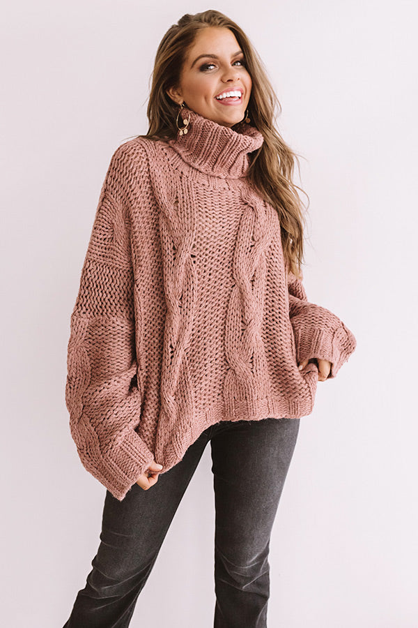 Cute With Cocoa Cable Knit Sweater In Blush