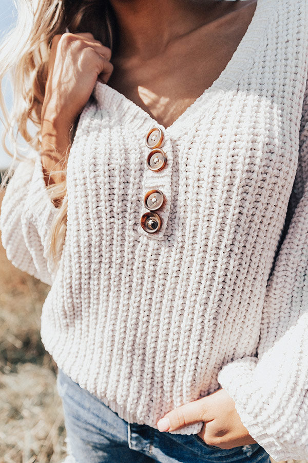 Chill Weekend Chenille Sweater In Stone