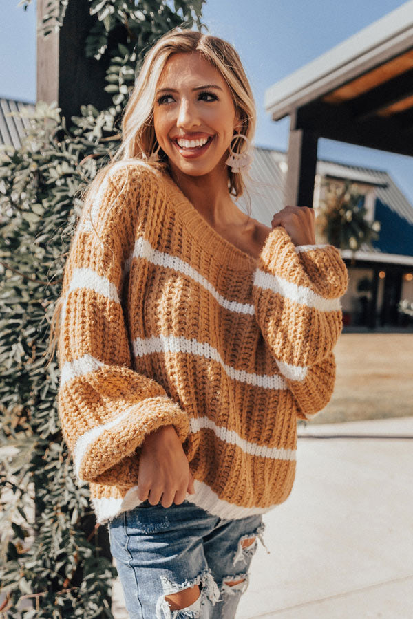 Time For Flurries Knit Sweater In Golden Honey