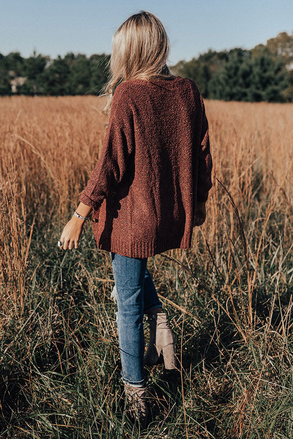 Sweet And Divine Knit Cardigan In Rustic Rose